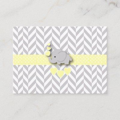 Yellow and Gray Elephant Baby Shower Book Request Enclosure Card