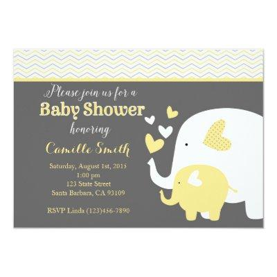 Yellow and Gray Elephant Invitations