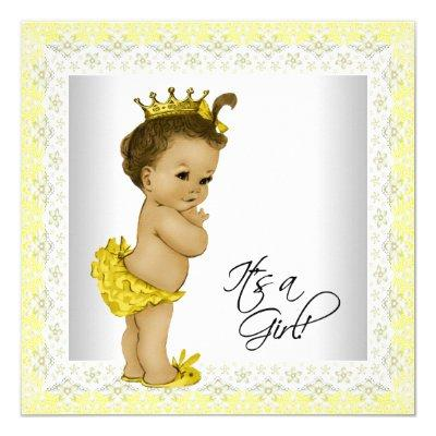 Yellow and Gray Vintage Baby Girl Shower Invitation