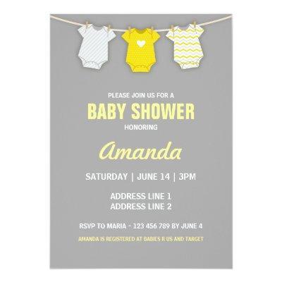 Yellow Invitation, Clothesline Theme Invitations