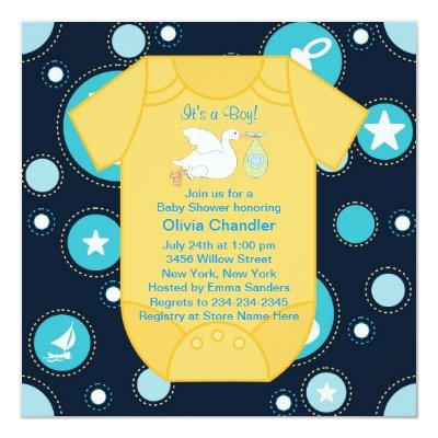Yellow Blue Stork Baby Boy Shower Invitation