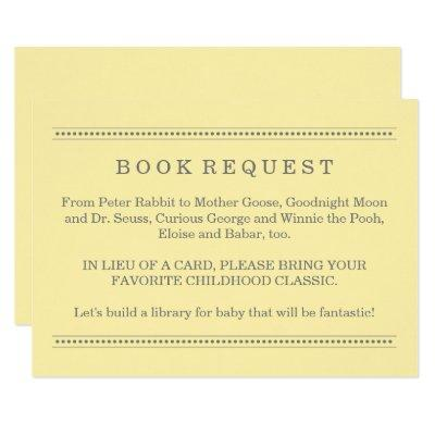 Yellow Book Request | Baby Shower Enclosure Invitations