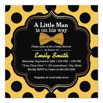 Yellow Bow Tie Polka Dots Little Man Invitations