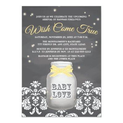 YELLOW Chalkboard Firefly Mason Jar Invitations