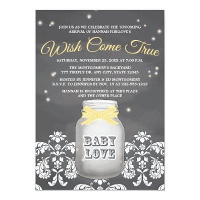 YELLOW Chalkboard Firefly Mason Jar Baby Shower Invitations