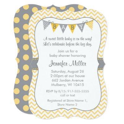 Yellow Chevron Baby Shower Die Cut Invitation