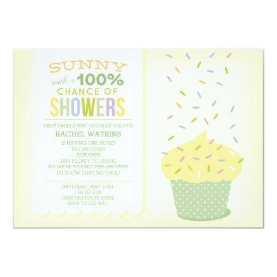 Yellow Cupcake Baby Sprinkle Invitations