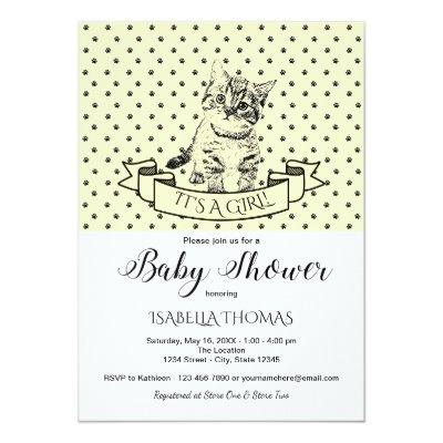 Yellow Cute Kitten Baby Shower Invitations