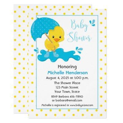 Yellow Duck, Umbrella and Polka Dots Baby Shower Invitation