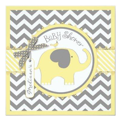 Yellow gray elephant baby shower baby shower invitations baby yellow elephant and chevron print filmwisefo