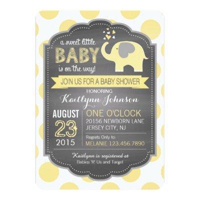 Yellow Elephant and Dots Invitations