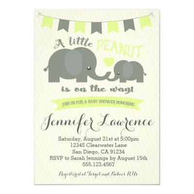 Yellow Elephant Baby Shower Invitations Boy or Girl
