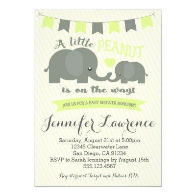 Yellow Elephant Invitations Boy or Girl