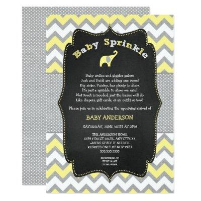 Yellow elephant baby sprinkle, baby shower invitation