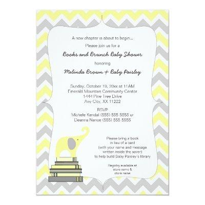 Yellow Elephant Book Baby Shower, books and brunch Invitations