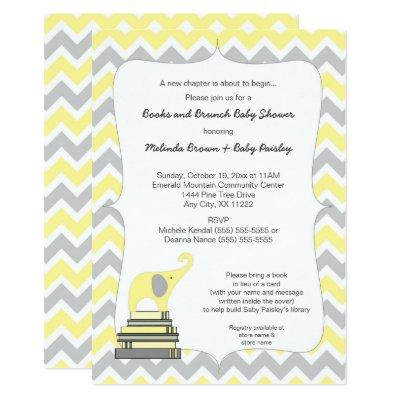 Yellow Elephant Book Baby Shower, books and brunch Invitation
