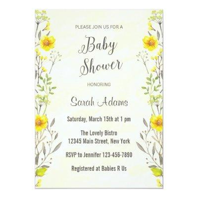 Yellow Flowers Watercolor Baby Shower Invitations