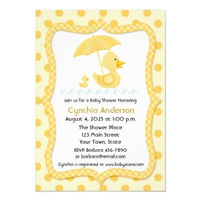 Yellow Gingham Duck with Umbrella,