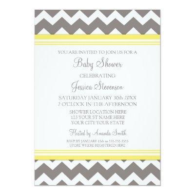 Yellow gray baby shower invitations baby shower invitations baby baby shower neutral gender invitations yellow gray chevron custom filmwisefo
