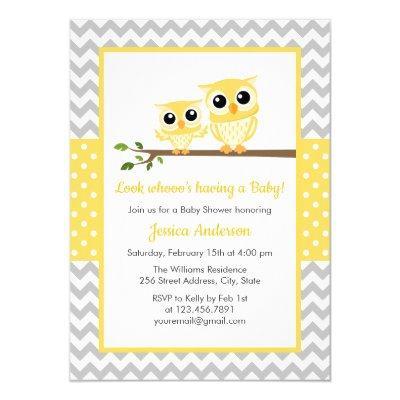 Yellow Gray Chevron Neutral Cute Owl Baby Shower Invitation