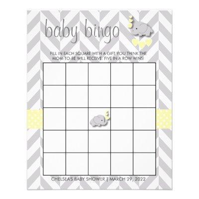 Yellow & Gray Elephant Baby Shower - Bingo Flyer