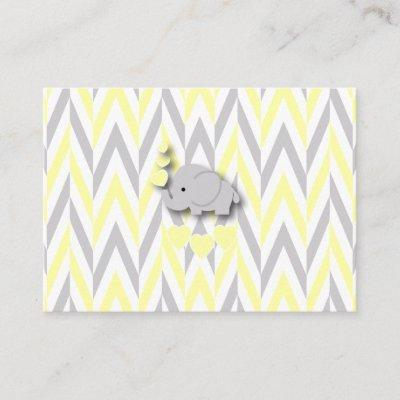 Yellow & Gray Elephant Baby Shower Book Request Enclosure Card