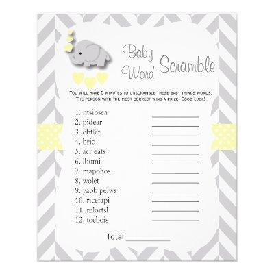Yellow & Gray Elephant Baby Shower - Scramble Flyer