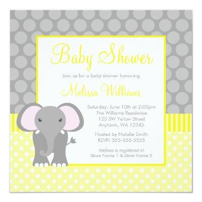 Elephant baby shower invitations baby shower invitations page 5 yellow gray elephant polka dot boy filmwisefo Choice Image