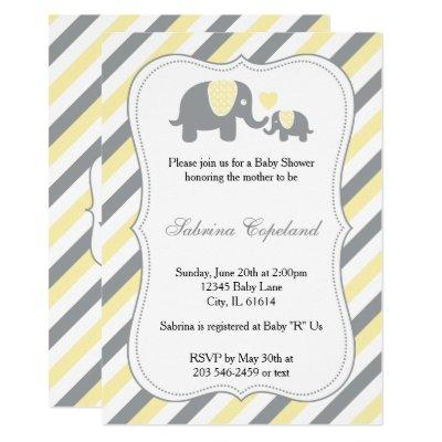 Yellow & Gray Stripes Baby Elephant | Baby Shower Invitation