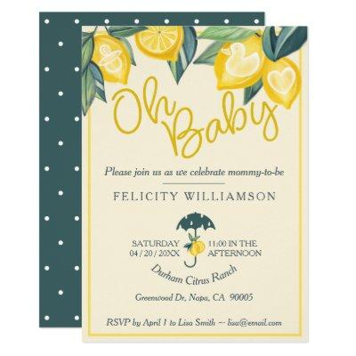 Yellow Lemon fruit Tree Baby Shower Invitations