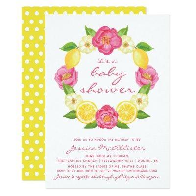 Yellow Lemon Pink Roses Wreath Girl Baby Shower Invitations