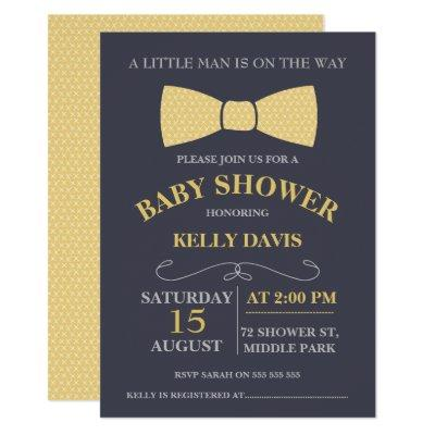 Yellow Little Man Bow Tie Baby Shower Invitations