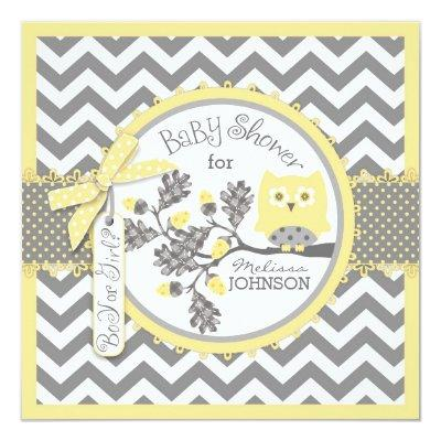 Yellow Owl and Chevron Print Gender Reveal Party Invitation