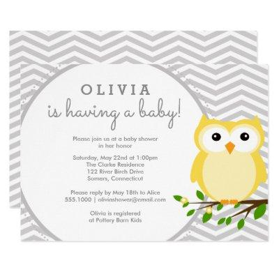Yellow Owl Baby Shower, Grey Chevron Invitation