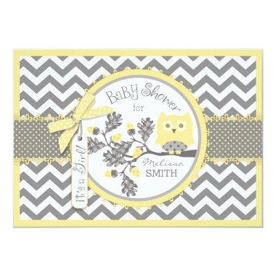 Yellow Owl Chevron Print