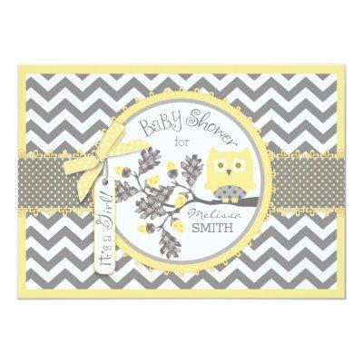 Yellow Owl Chevron Print Baby Shower Invitations