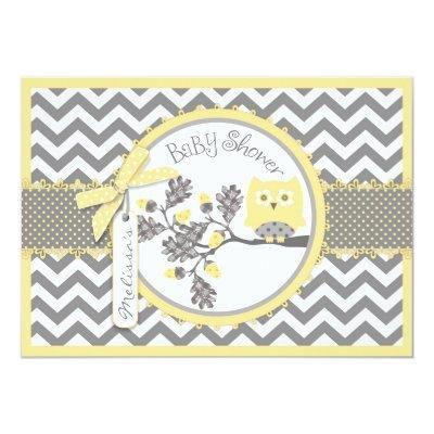 Yellow Owl Chevron Print Baby Shower Invitation