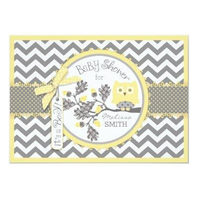 Yellow Owl Chevron Print Baby Shower Invitation