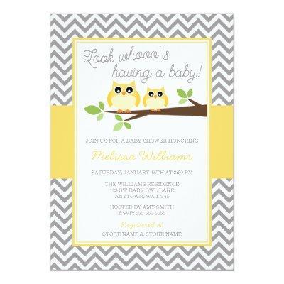 Yellow Owl Gray Chevron Invitations