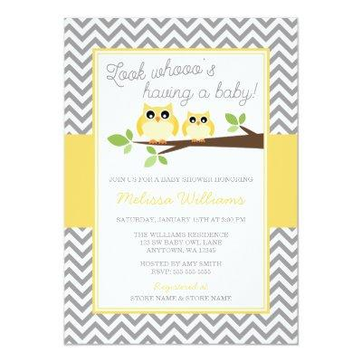 Yellow Owl Gray Chevron Baby Shower Invitations