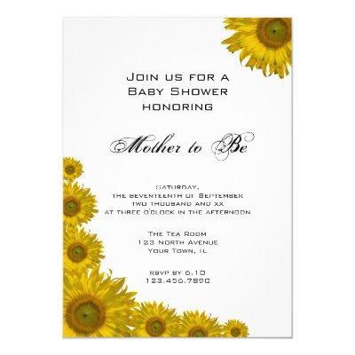 Sunflower baby shower baby shower invitations baby shower invitations yellow sunflower edge baby shower invitation filmwisefo