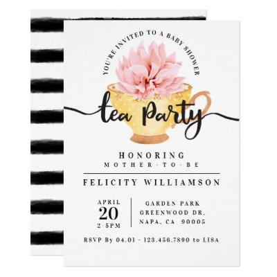 Yellow Teacup Tea Party Baby Shower Invitation
