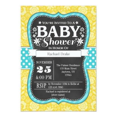 Yellow Teal Chalkboard Floral Baby Shower Invite