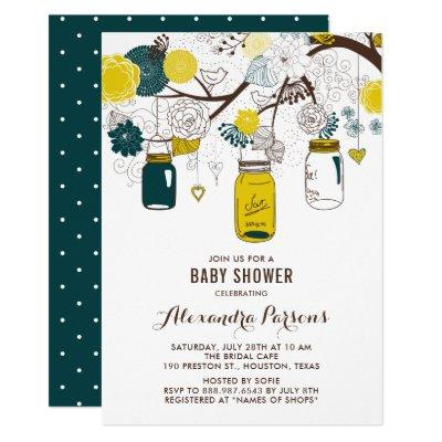 Yellow & Teal Mason Jars | Floral Baby Shower Invitation