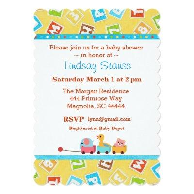 Yellow Turquoise Baby Blocks Shower Invitation