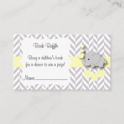 Yellow White Gray Elephant Baby Shower Book Raffle Enclosure Card