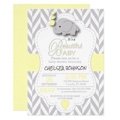 Yellow, White Gray Elephant 🐘 Baby Shower Invitations