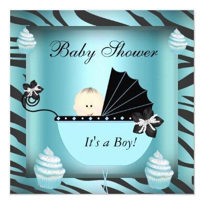 Zebra Baby Shower Baby Boy Teal Cupcake Invitation