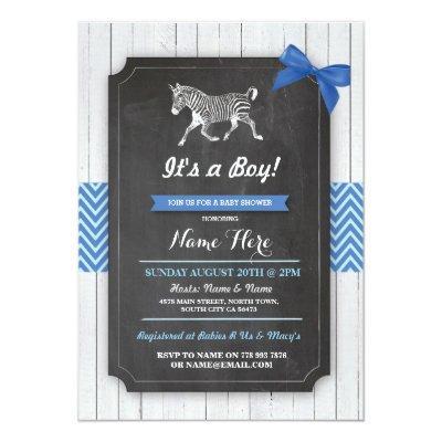 Zebra Blue Party Boy Wood Invite
