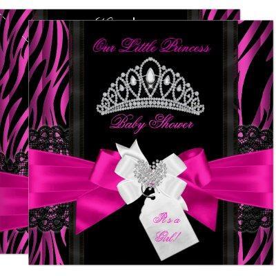 Zebra Hot Pink Princess Baby Shower Girl Black 2 Invitation